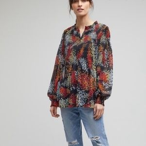 Anthropologie Adria Smocked Blouse